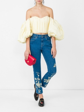 embroidered denim pant BLUE