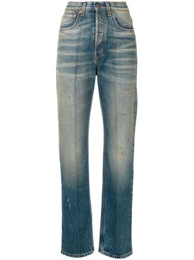 Gucci - Embroidered Faded Jeans - Women