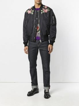 Reversible nylon and silk bomber jacket BLACK