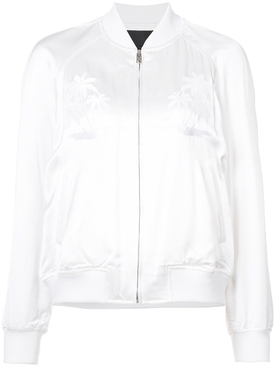 palm tree embroidered bomber jacket