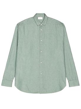 light blue button up denim shirt