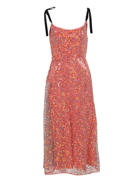 Mars Iridescent Coral Sequin Bias Corset Dress