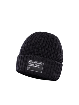 7 MONCLER FRAGMENT HIROSHI FUJIWARA BLACK WOOL LOGO BEANIE