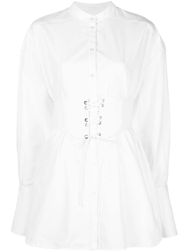 White corset belt shirt