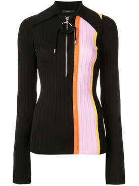 striped panel polo top