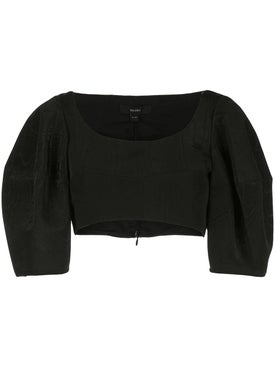 Ellery - Puffed Sleeve Cropped Top Black - Cropped