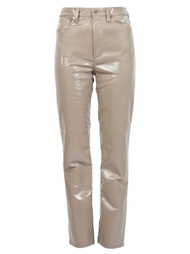 Recycled Leather 90'S Pinch Waist Patent leather pants beige