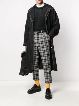 Black crepe cotton crewneck sweater
