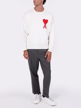 Oversize Ami De Coeur Crewneck Sweater WHITE