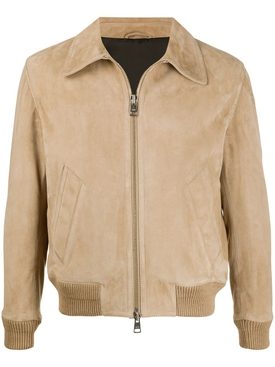 Zipped classic suede jacket BEIGE