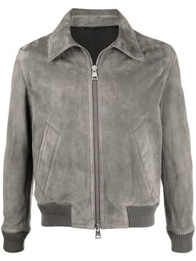 Zipped classic suede jacket DARK GREY