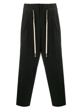 Pleated Drawstring Waist Trousers BLACK