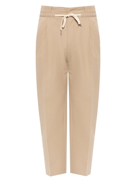 Pleated Drawstring Waist Trousers BEIGE
