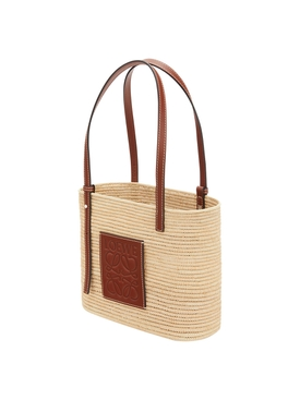 X PAULA'S IBIZA SMALL SQUARE RAFFIA BASKET BAG