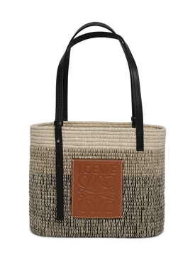small Square Basket tote bag, Tan & Black