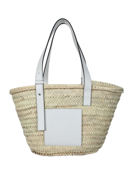Loewe - White Leather Raffia Basket Bag - Women