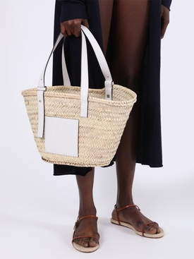 White Leather Raffia Basket Bag