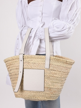 White and natural Basket Bag