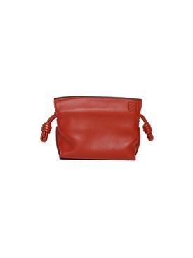 Nano Flamenco Leather Clutch Burnt Red