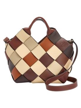 Small Color block Woven Basket Tote Bag