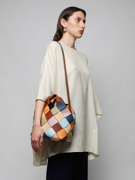 Small Surplus Leather Woven basket bag
