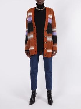 striped wool blend cardigan, pumpkin orange
