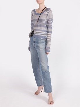 stiped crew neck knit top, dusty blue