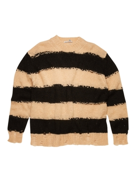 striped knit sweater, black and warm white