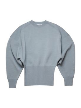 wool-blend sweater, dusty blue