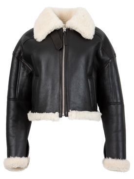 Leather Cropped Jacket With Shearling Details