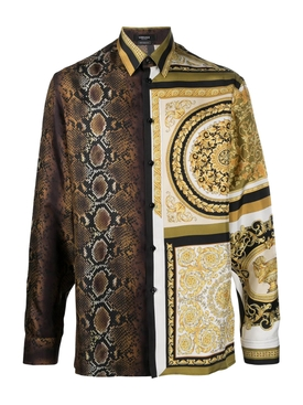 mixed print silk shirt