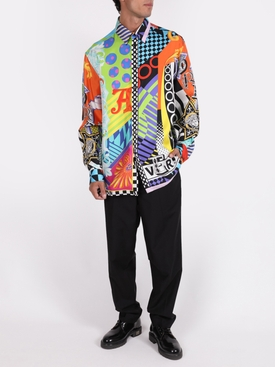 Silk multi-print long sleeve shirt