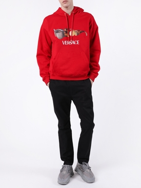 Sunglass logo print hoodie RED