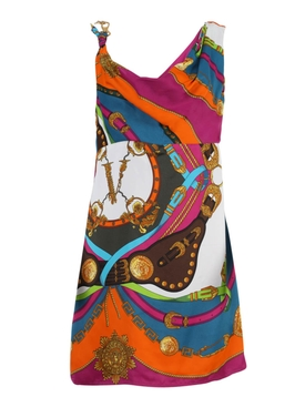 Multicolored Barocco Print Mini Dress