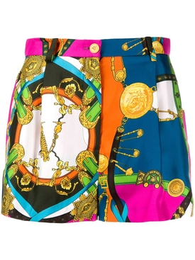 Multicolored Barocco Print Shorts