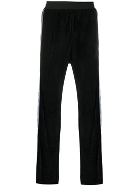 Black sport side-panel track pants