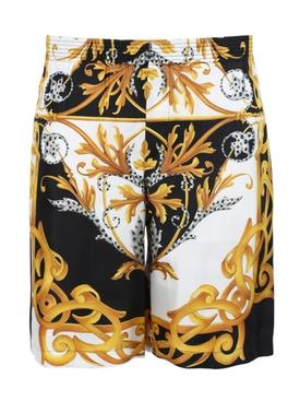 Barocco print elastic shorts
