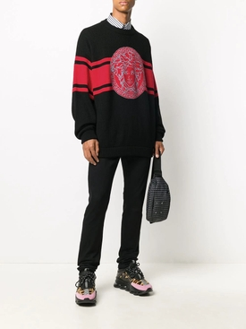 Black and red Medusa wool knit sweater