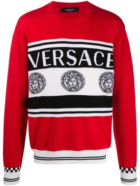 wool medusa print sweater RED