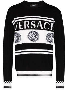 wool medusa print sweater BLACK
