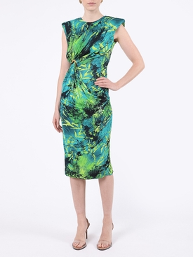 Green Jungle Print Jersey Dress
