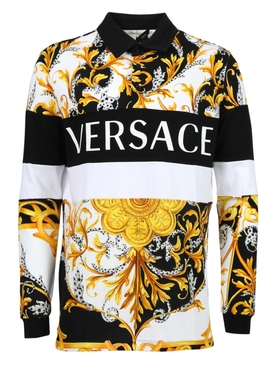 Barocco print long sleeve polo