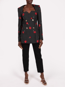 Rose Print Pinstripe Blazer