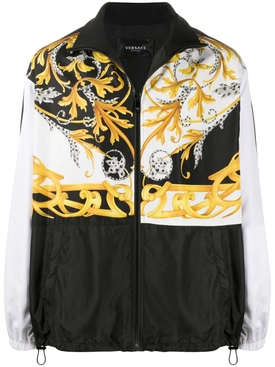 Color block barocco print track jacket