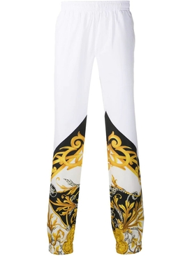 Color block barocco print track pants