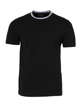 logo print mock neck t-shirt BLACK