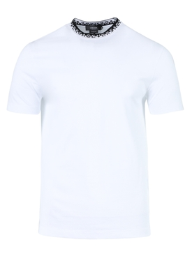 logo print mock neck t-shirt OPTICAL WHITE