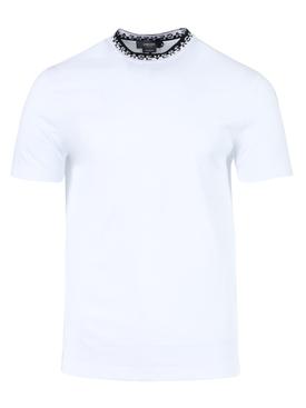 logo print mock neck t-shirt OPTICAL WHITE