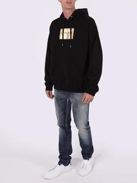 Black gold logo plaque hoodie