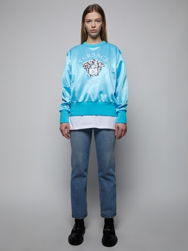 Light Blue embroidered Medusa crew neck sweatshirt